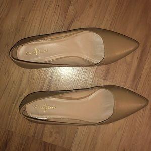 Nude point toe flats